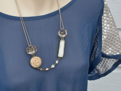 vintage and druzy mixed statement bling necklace