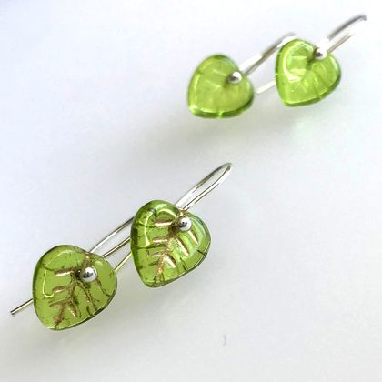 Sterling silver and czech glass leaf earrings green