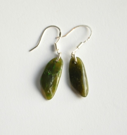 New Zealand Greenstone/Pounamu & sterling silver earrings