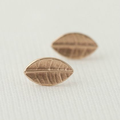 Tiny Leaf Stud Earrings In 9ct Yellow Gold