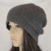 100% Wool Crochet Unisex Oversized Beanie - CHARCOAL