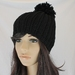 Thick Warm Ribbed Crochet Slouch Beanie with Pom Pom in Black