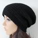 100% Wool Crochet Unisex Oversized Beanie - BLACK