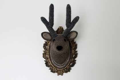 Stag Wall Animal Fauxidermy - Dark Fawn & Charcoal - Medium Size