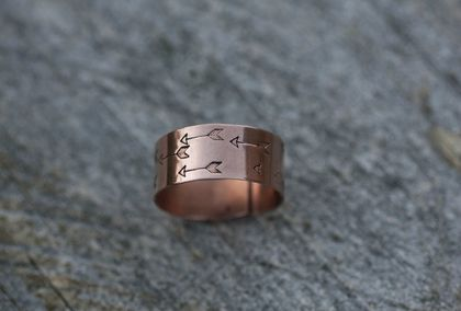 Wide copper ring // Hand stamped arrow pattern // Adjustable // Made to order in your size