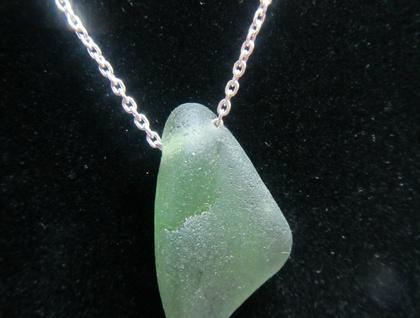 Single Piece Green beachglass necklace