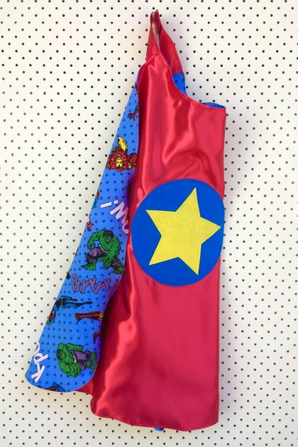 Kids Superhero Cape - Red with Superheroes!