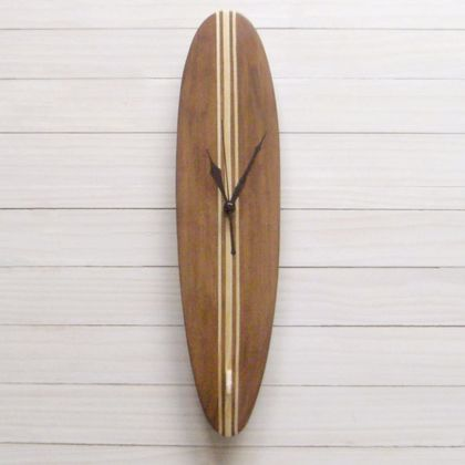 Surfboard clock - Woodstained Tri-stripe Longboard