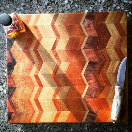 Herringbone chopping board with handles