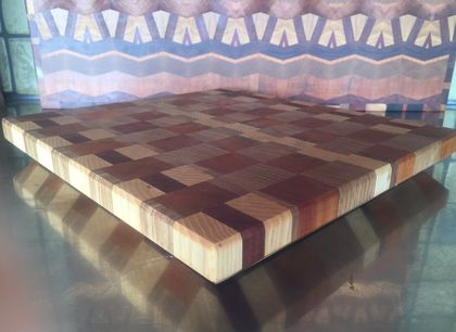 Bevel edge End grain chopping board in Oak and Ash