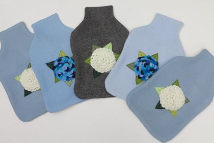 "Hotwater Bottle Cover "" Hydrangea""  Shades of Blue on Blue or White on Blue or White on Grey"
