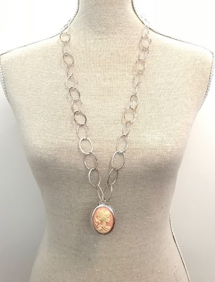 Quirky Cameo Sterling Silver Necklace (heavy chain)