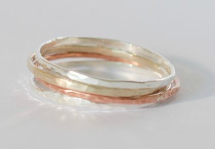Five Textured Stacker Rings- 2 Sterling silver, 2 9ct yellow gold, copper