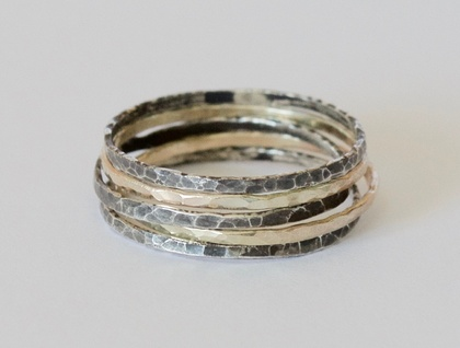 Oxidised Stacker Rings- Two Sterling Silver, 9ct Rose Gold, 9ct Yellow Gold