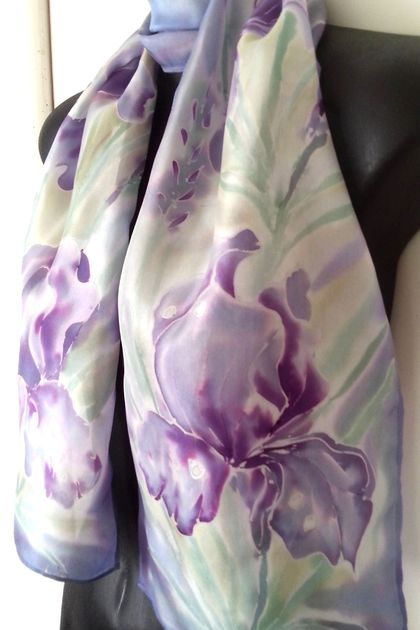 IRIS Flower, MOTHER'S DAY GIFT handmade in New Zealand,  Hand painted Iris SILK SCARF, Pastels, mauve, purple, blue, Pink, Handmade Gift for her, 150cm x 28cm Luxury on Habotai silk.