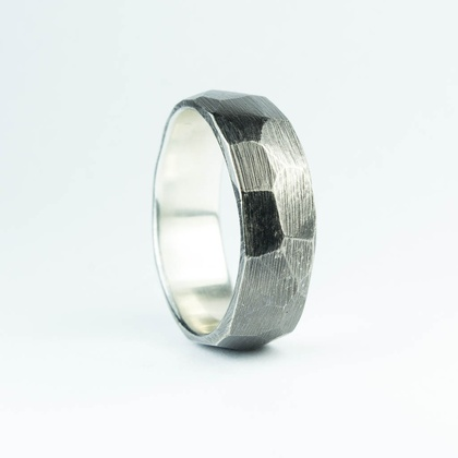 Blackened rough faceted band