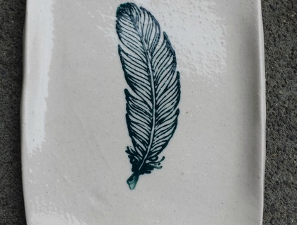 Hand Made Ceramic Dish with Feather