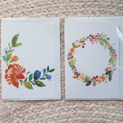 Set of 4 watercolour wreath art print gift cards.