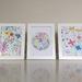 Set of 3 framed watercolour art A5 prints.