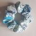 Retro blues floral scrunchie.