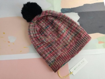Hudson pink grey multicoloured beanie - luxury merino wool hat with upcycled fur pompom