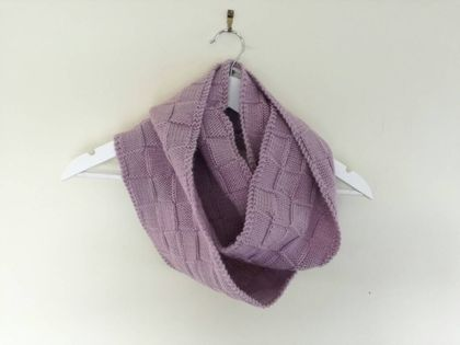 Bushido light lavender purple infinity scarf - knitted from pure NZ wool