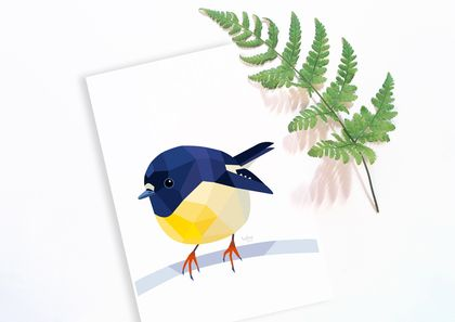 Tomtit illustration, New Zealand tomtit, Miromiro, New Zealand art, New Zealand native birds, Bird wall art, Kiwiana