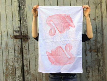 Linen tea towel, pink swan vase retro tea towel