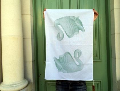 Cotton tea towel, mint green vintage swan vase retro tea towel
