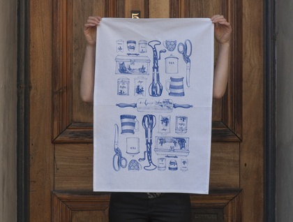 Linen tea towel, Delft blue vintage kitchen