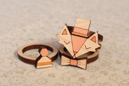 Handmade Fancy Fox Laser Cut Wood Stackable Ring Set (ring size 8 US)