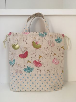 Back to school specials! Ballerina print tote bag / lunch bag / nappy bag / lessons bag