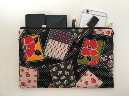 Large pouch / travel purse / toiletry pouch / clutch - Japanese traditional cards print fabric