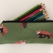 Back to school specials! Red panda print pencil case / glasses case / purse