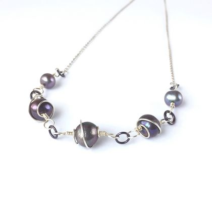 Freshwater Pearl Necklace Spiral Wrapped in Eco Sterling Silver with Magnetic Clasp