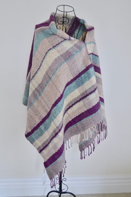 Hand woven Merino and Mohair Poncho
