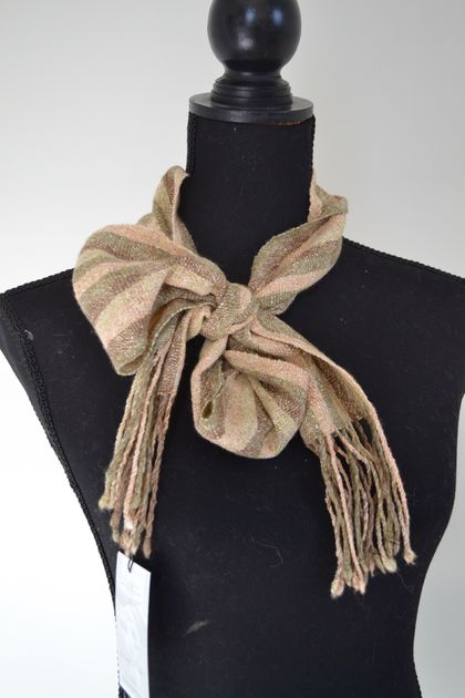 Hand-woven skinny scarf