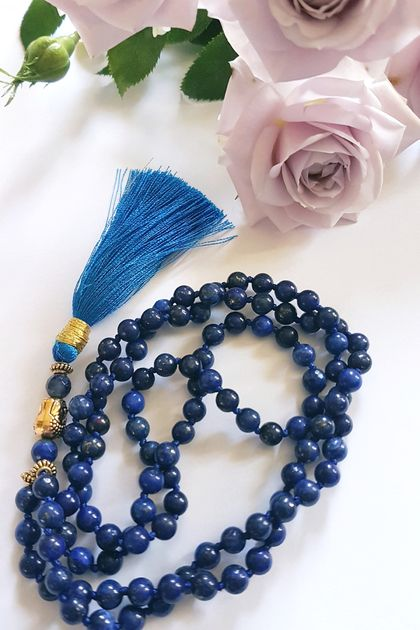 Lapis Lazuli 108 bead hand knotted mala - bracelet or necklace with long tassel  - made to order