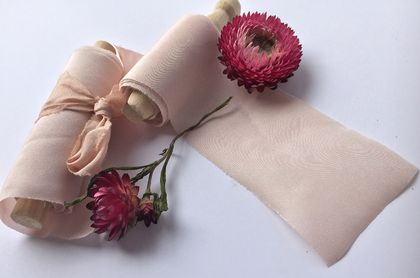 ROSE BLUSH plant-dyed/hand-dyed pure silk ribbon, 7.6cm x 3m