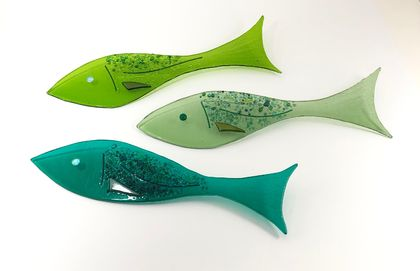 Rainbow Reef - Wall Mounted Fused Glass Fish - Greens