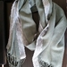 Fringed rectangular scarf in polyester linen and lace