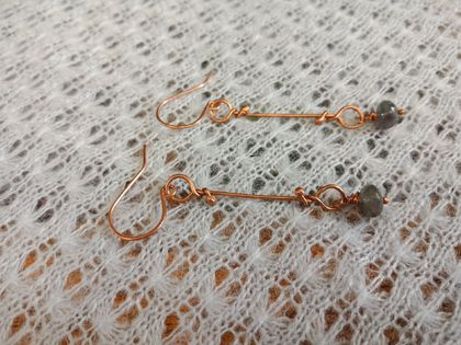 Wrapped copper wire earrings with labradorite beads