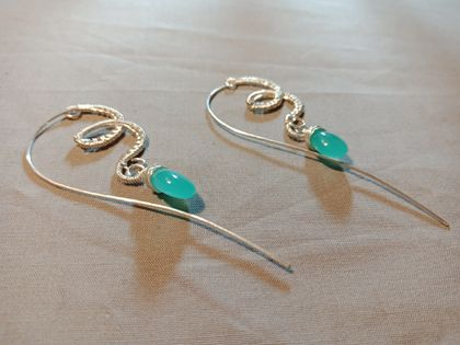 Sterling silver wire wrapped earrings with aqua quartz beads