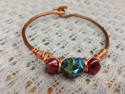 Hammered copper bangle with pearls and titanium quartz
