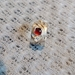 Wide silver ring with garnet and moonstone