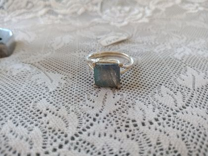 Large square labradorite ring