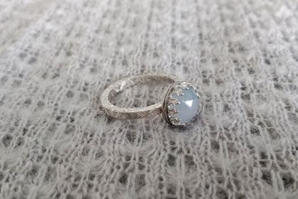 Pale blue chalcedony cocktail ring