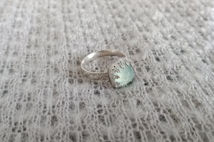 Chalcedony and sterling silver cocktail ring