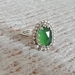 Green serpentine and silver ring