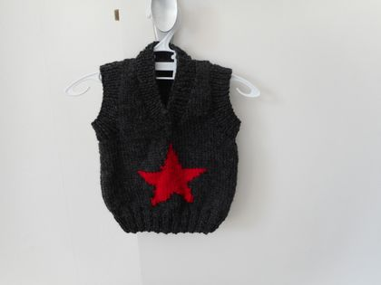 Charcoal and red star vest